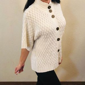 Style & Co button down white cardigan sweater M